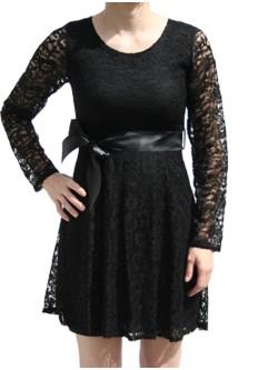 Robe courte noire manche longue
