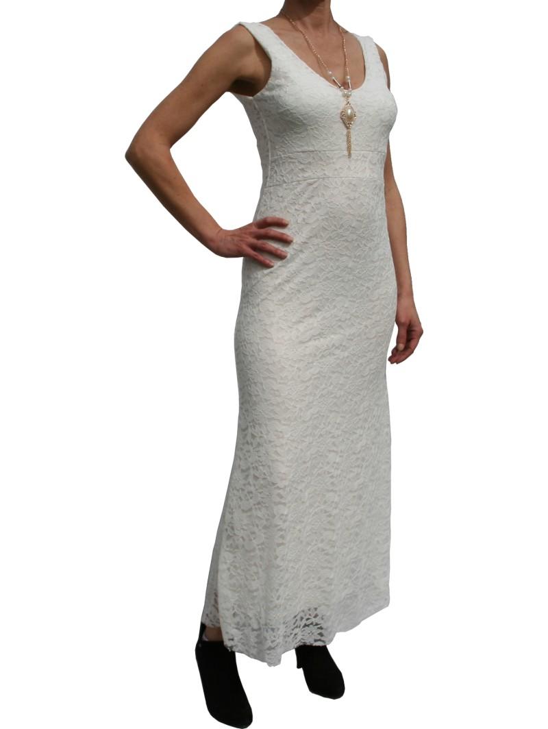 robe longue dentelle blanche d collet e sans manche de. Black Bedroom Furniture Sets. Home Design Ideas