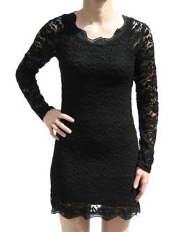 Robe noire dentelle courte manche longue