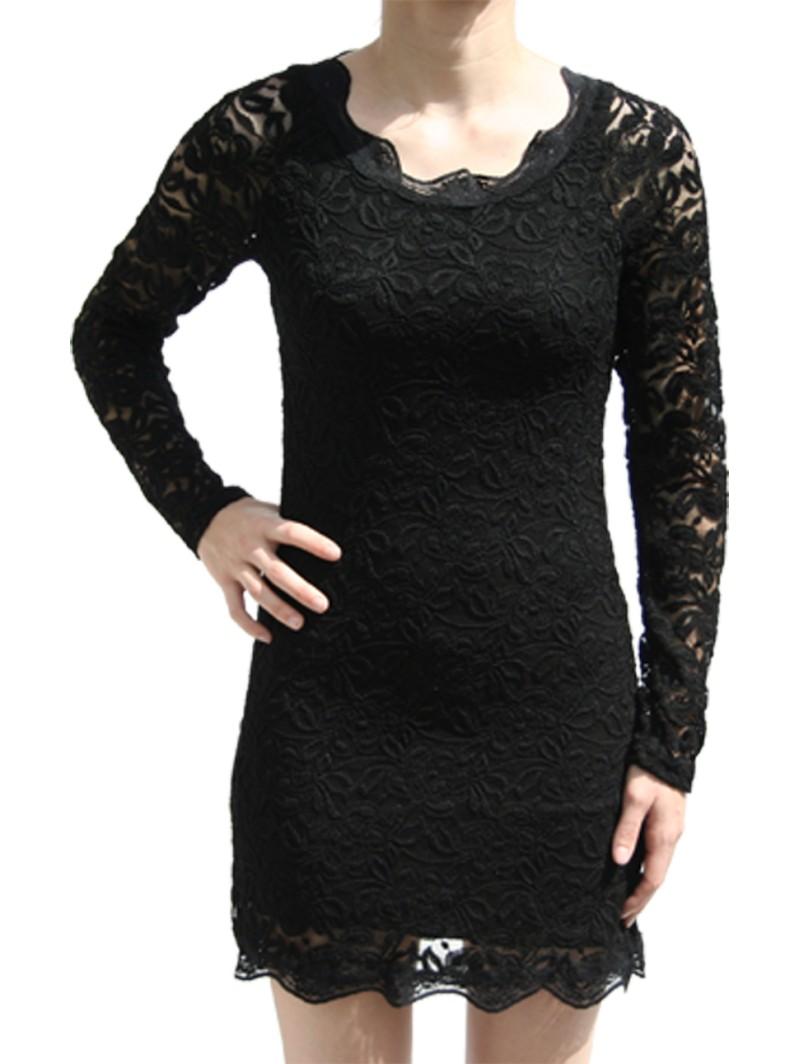 robe dentelle noire courte manche longue de. Black Bedroom Furniture Sets. Home Design Ideas