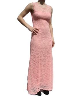 Robe rose longue dentelle décolletée dos sans manche
