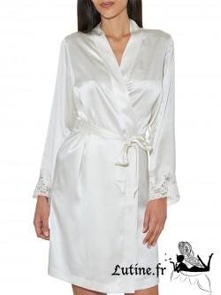 AUBADE CREPUSCULE SATINE Kimono soie et dentelle nacre