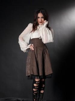 Jupe corset rayée marron