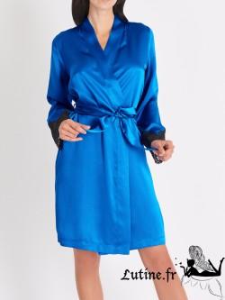 AUBADE CREPUSCULE SATINE Kimono soie et dentelle cobalt