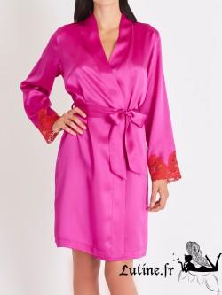 AUBADE CREPUSCULE SATINE Kimono soie et dentelle envie