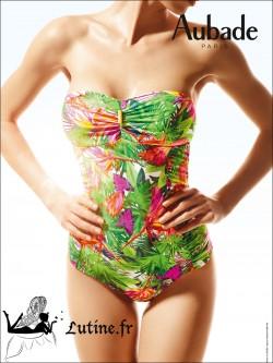 AUBADE Fleur Tropicale maillot de bain 1 pièce coloris Paon