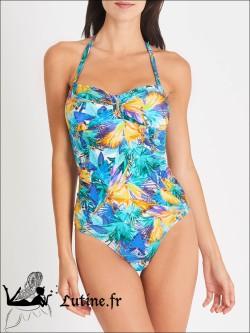 AUBADE Fleur Tropicale maillot de bain 1 pièce coloris Bleu Eden