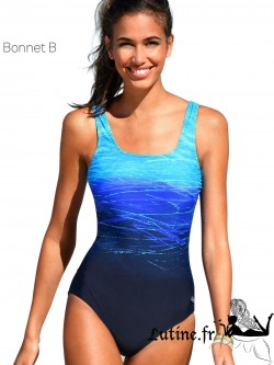 LASCANA BATIK Maillot de bain 1 pièce bonnet B coloris bleu