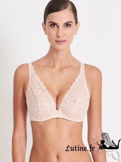 AUBADE SECRET DE CHARME Soutien-gorge triangle push-up confort dentelle coloris Nymphe