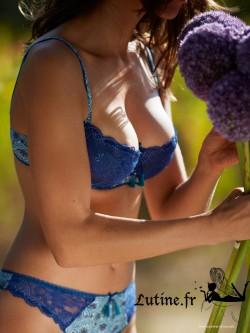 AUBADE OMBRE PERSANE Soutien-gorge corbeille dentelle coloris Azulejos