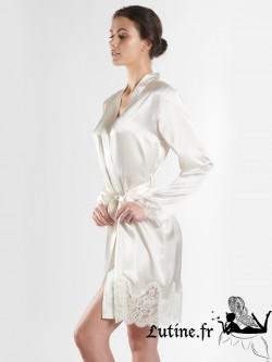 AUBADE SOIE D'AMOUR Kimono en soie et dentelle Nacre