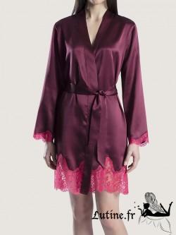 AUBADE SOIE D'AMOUR Kimono en soie coloris Amarante