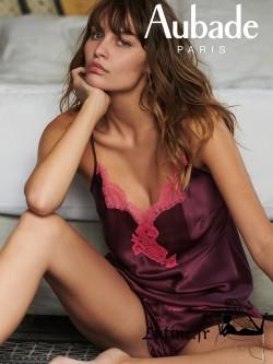 AUBADE SOIE D'AMOUR Top en soie coloris Amarante