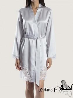 AUBADE SOIE D'AMOUR Kimono en soie coloris Rêve d'opale