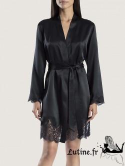 AUBADE SOIE D'AMOUR Kimono en soie coloris Noir