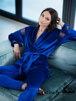 LISCA ROYAL WISH Ensemble en velours coloris Bleu Roi