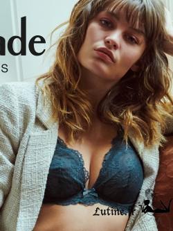 AUBADE DANSE DES SENS Soutien-gorge triangle push-up coloris Bleu de Prusse