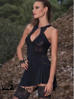 """LES P'TITES FOLIES par CATANZARO Robe courte plissée noire """"Oxanna"""""""