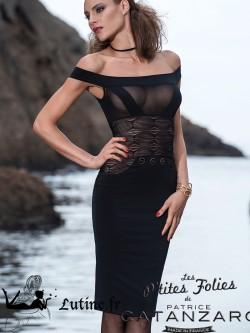 """LES P'TITES FOLIES par CATANZARO Robe courte mi-longue noire """"Zita"""""""
