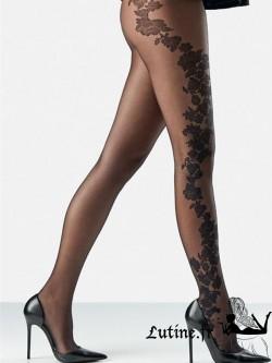 AUBADE BALLADES D'AUBADE Collant dentelle fleur noir.