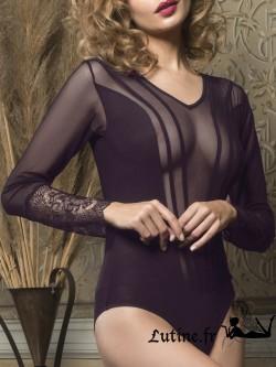 LUNA MIDNIGHT Body manches longues dentelle violette