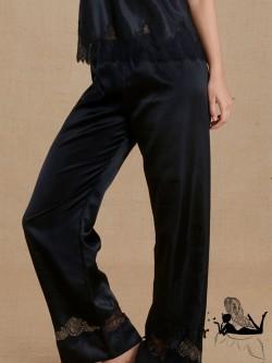 SIMONE PERELE NOCTURNE Pantalon soie et dentelle noires