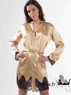 AUBADE SOIE D'AMOUR Kimono en soie et dentelle noire