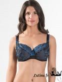 AUBADE FEMME CHARMEUSE Soutien-gorge emboîtant confort dentelle Bleu Velvet