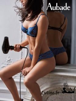 AUBADE FEMME CHARMEUSE Soutien-gorge balconnet dentelle Bleu Velvet