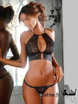 LASCANA PERLA String dentelle noire