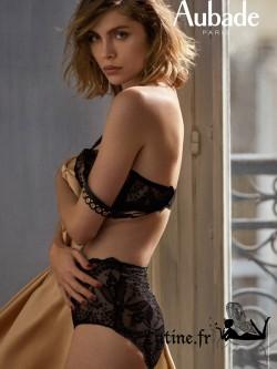 AUBADE FEMME SENSUELLE Culotte taille haute dentelle noire