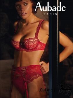 AUBADE SOLEIL NOCTURNE Porte-jarretelles dentelle coloris Rouge Gala