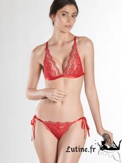 AUBADE SOLEIL NOCTURNE Slip mini-coeur dentelle coloris Rouge Gala