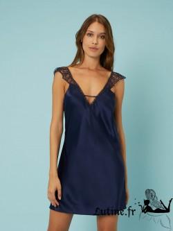 SIMONE PERELE PENSEE Nuisette courte soie et dentelle coloris Bleu Nuit